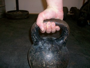 support grip on kettlebell handle